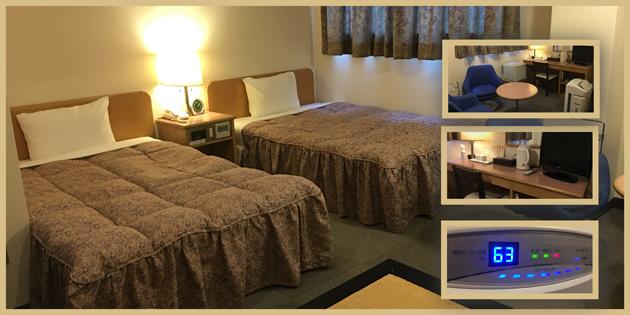 竹田市のホテル ホテルつちやの客室 寝室 アメニティ等